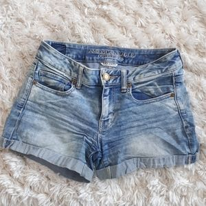 American Eagle O Super Stretch midi denim shorts